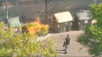Alarma vecinal por un incendio de contenedores en Son Dameto