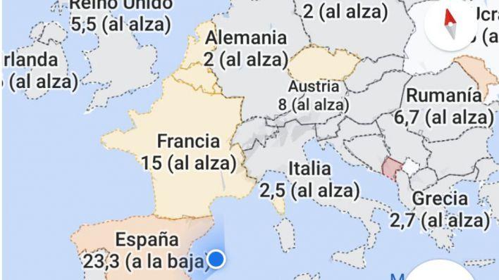 Google Maps informa sobre los contagios de Covid19 por regiones