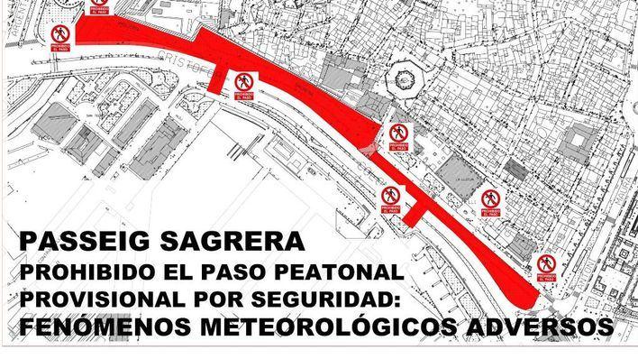 Cort cierra el Passeig Sagrera y Dalt Murada por los fuertes vientos