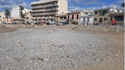 'Álex' vacía de arena la playa del Portixol