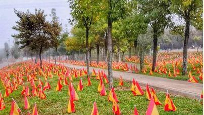Miles de banderas españolas a orillas del Guadalquivir por los muertos de Covid 19