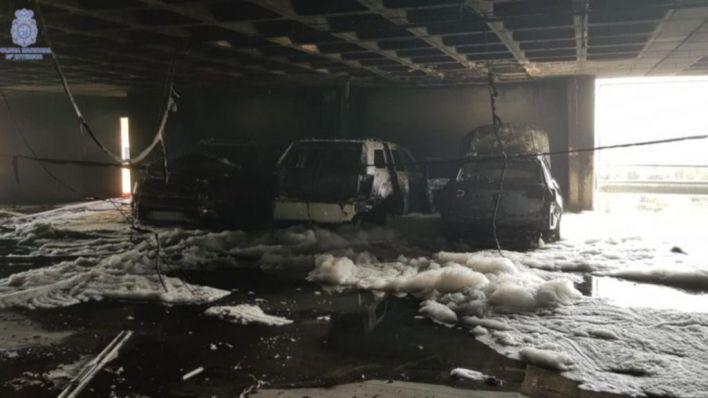 Detenido un suizo por el incendio del aparcamiento de Son Sant Joan