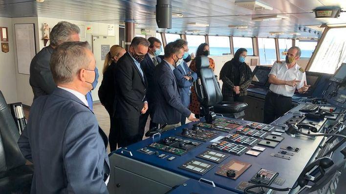 Naviera Armas Trasmediterránea presenta en La Palma el nuevo 'Villa de Tazacorte'