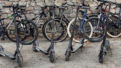 Exponen en la Guardia Civil de Artá bicicletas y patinetes eléctricos robados