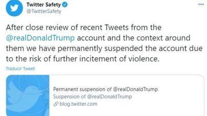 Twitter suspende definitivamente la cuenta de Trump para evitar que incite a la violencia