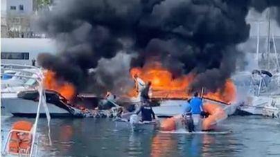 Tres heridos tras arder varios yates en el puerto deportivo de Can Picafort