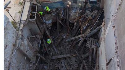 Un edificio se derrumba en pleno centro de Palma, aunque no hay que lamentar heridos