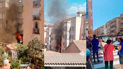 Alarma por un incendio en un bloque de viviendas del Arenal
