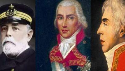 Los almirantes Churruca, Gravina y Cervera