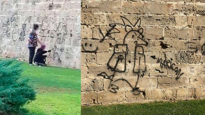 Dos menores, cazados cuando realizaban pintadas en la muralla del Parc de la Mar