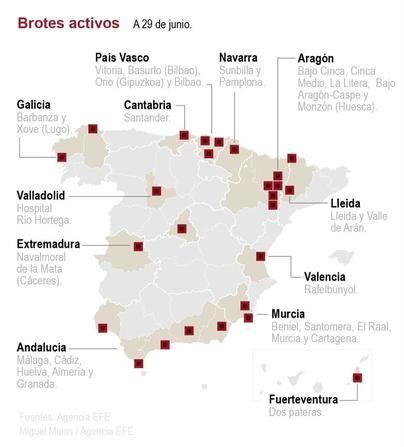 Once de los 51 rebrotes de coronavirus en España preocupan a Sanidad