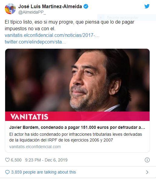 Almeida responde a Bardem: 'El típico listo que piensa que pagar impuestos no va con él'