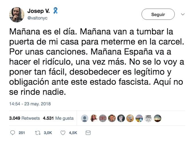Último tuit del rapero mallorquín Valtonyc antes de desaparecer
