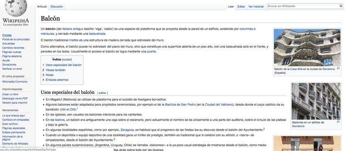Wikipedia, Magaluf y los balcones