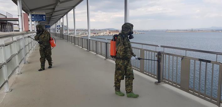 El Ejército descontamina el puerto de Palma