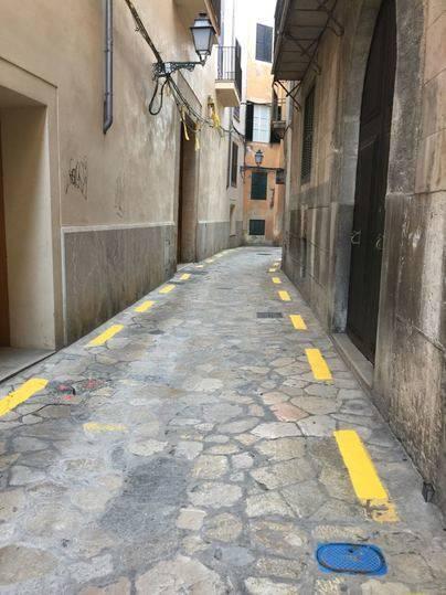 Indignación entre vecinos y ARCA por la 'vulgarización' de la calle Almudaina con marcas amarillas