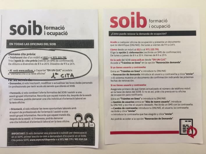 Pasquines informativos del SOIB.