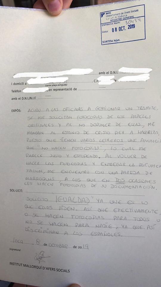 Una usuaria denuncia trato discriminatorio a los españoles en el IMAS de Inca