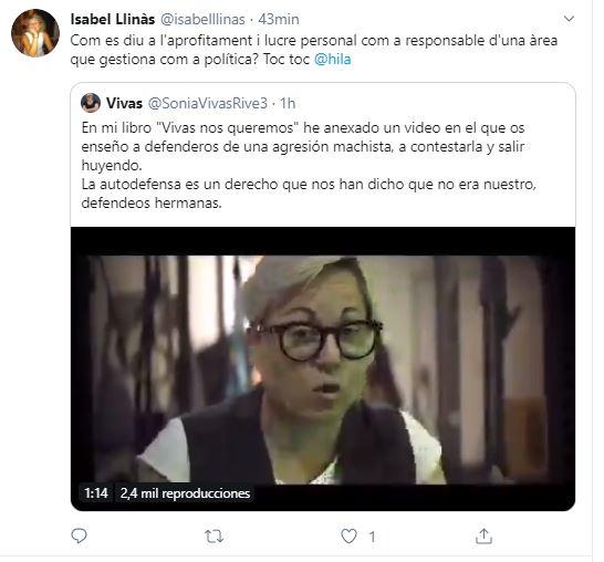 Isabel Llinàs y el 'lucro personal' de Sonia Vivas