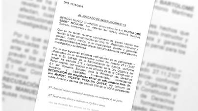 La defensa de Sbert pide recusar al juez Penalva por