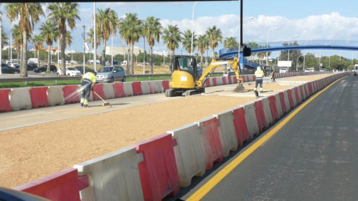Vuelven las obras en el bulevar del Palau de Congressos tras el parón de agosto