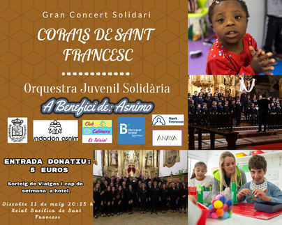 El colegio Sant Francesc ofrece un concierto a beneficio de Asnimo el 11 de mayo