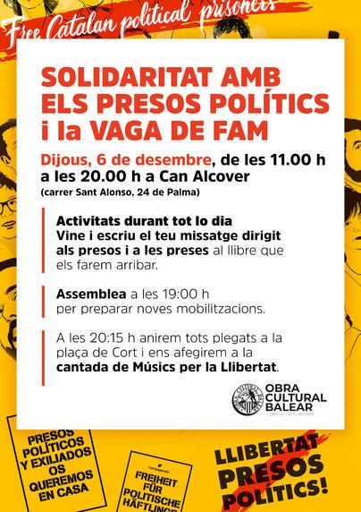 La OCB organiza una jornada de 'solidaridad con la huelga de hambre de los presos políticos'