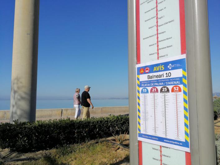 Seis paradas de autobuses TIB afectadas por las obras de Playa de Palma