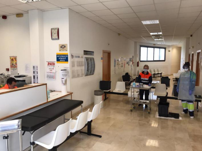 Punto Covid-exprés en un Centro de Atención Primaria de Mallorca.