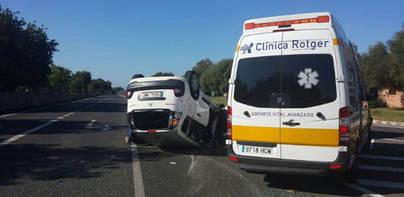 Un herido en un accidente en la carretera de Llucmajor