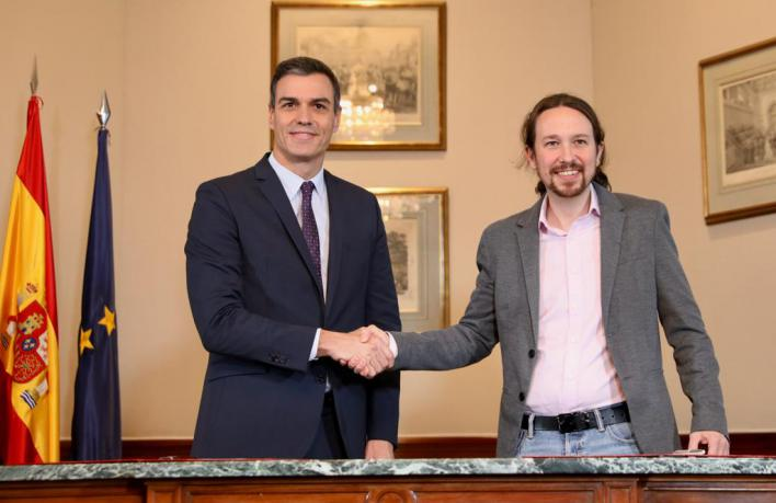 PSOE y Podemos anuncian un Gobierno de coalición en el que Iglesias será vicepresidente