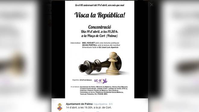 El Ayuntamiento convoca un acto en Palma en favor de la República