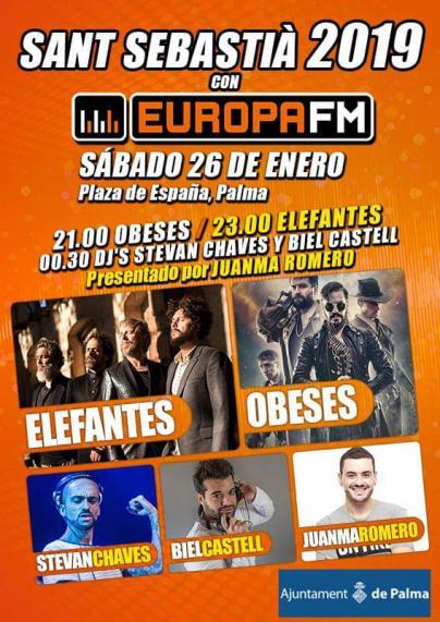 Elefantes y Obeses se suben al Escenario Europa FM en las fiestas de Sant Sebastià de Palma