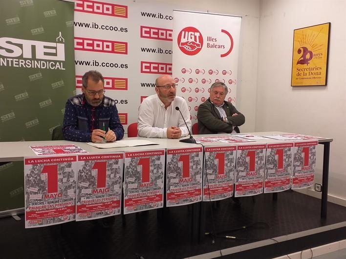 Los sindicatos llaman a manifestarse el 1 de mayo bajo el lema 'Primero las personas'