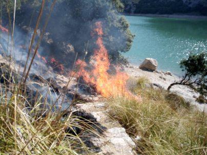 Medios del Ibanat sofocan un incendio declarado en la zona del Gorg Blau