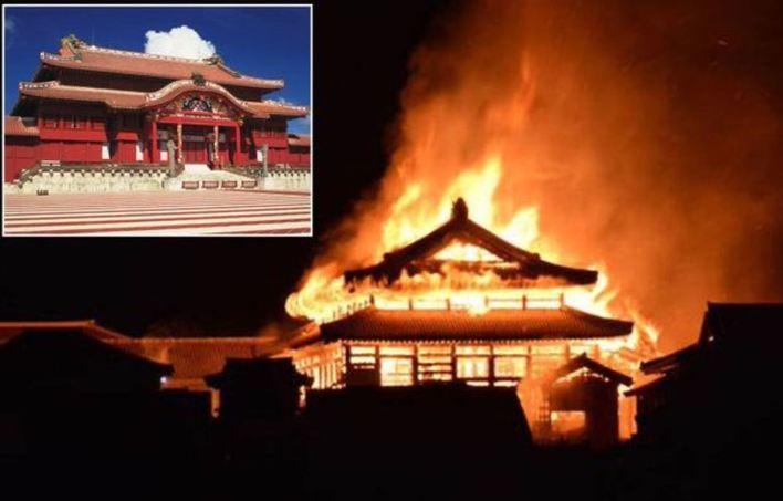 Un incendio devora el legendario castillo de Shuri en Okinawa