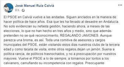 Acusan al PSOE de Calvià de buscar votos 'regalando jamones' en los centros de ancianos