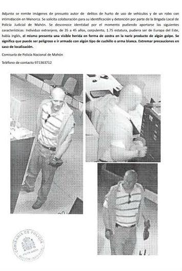 La Policía busca a un hombre 'peligroso y que puede ir armado'
