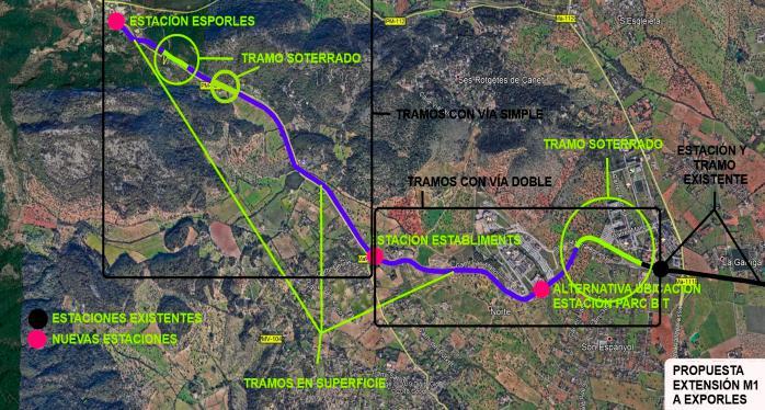 Una plataforma ciudadana propone alargar la línea de metro hasta Esporles