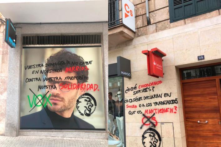 Ciudadanos y Vox denuncian pintadas vandálicas en sus sedes de Palma