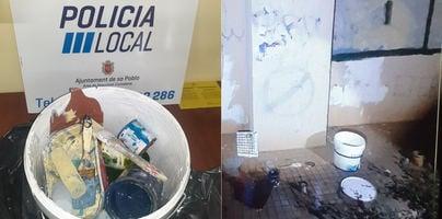 Pillados 'in fraganti' haciendo pintadas vandálicas en sa Pobla