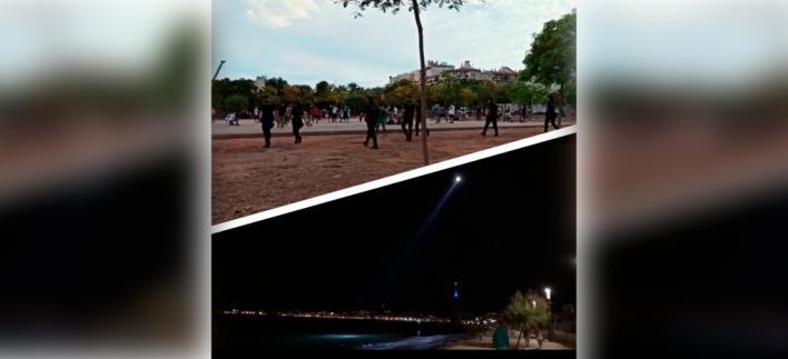 Así disuelve la Policía Nacional las concentraciones en parques y playas por la noche