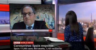 Torra afirma en la BBC que el Gobierno español impide el confinamiento de Cataluña