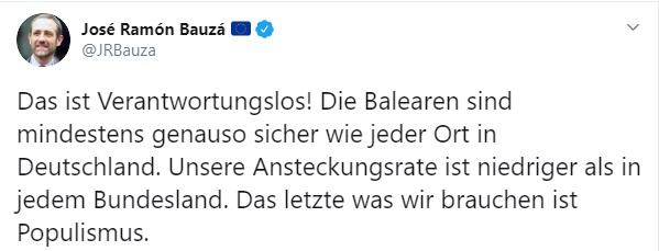 Bauzá tacha de 'irresponsables' y 'populistas' las informaciones en Alemania sobre lo improbable de viajar a España