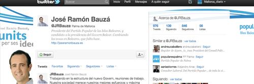@jrbauza, el sexto político español más influyente en twitter en mayo