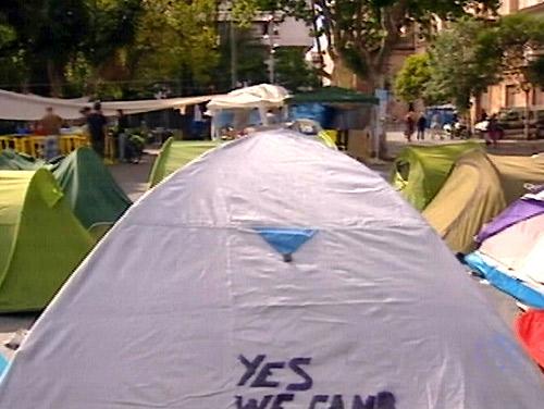 Los indignados de Palma mantienen su acampada 'sine die', pero reducida