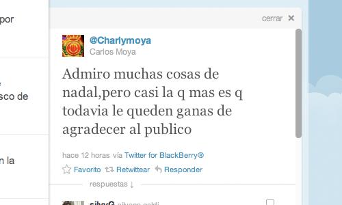 Carlos Moyá reprueba en su Twitter el trato del público francés a Nadal