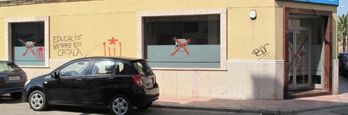 Pintadas en la sede del PP de Manacor