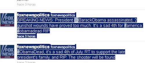 Fox News mata a Obama en Twitter
