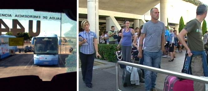 Una turista herida, tres detenidos y 50 autocares dañados durante la huelga